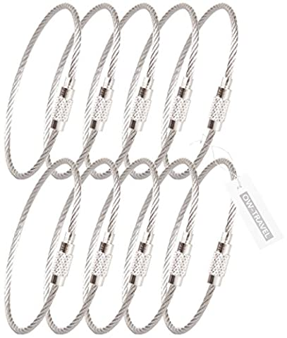 ✅ SUPER STRONG INDESTRUCTIBLE Stainless Steel Cables (Pack 10) with Twist Close Barrel (Key ring) - Go Anywhere Quality Flight Accessories & Gifts by OW Travel (1 - Pack, Silver)