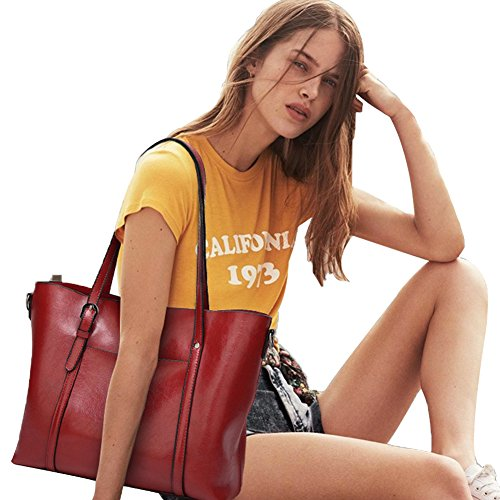 PB-SOAR Damen Elegant Shopper Schultertasche Umhängetasche Ledertasche Handtasche Henkeltasche 30x26x12cm (B x H x T) (Rosa) Weinrot