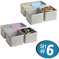 MetroDecor Soft Storage Drawer Organizer Set  Zig-Zag Pattern in Grey & White -Set of 6