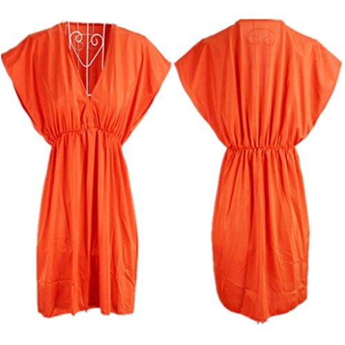 ERGEOB Damen Strandkleid Badeanzug Bikini des elastischen Eises silk  Strandkleid Kittel 05 orange