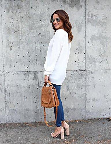 Yidarton Damen Bluse Chiffon Langarm Oberteile Elegante Mode Hemd Asymmetrisch Top Weiß