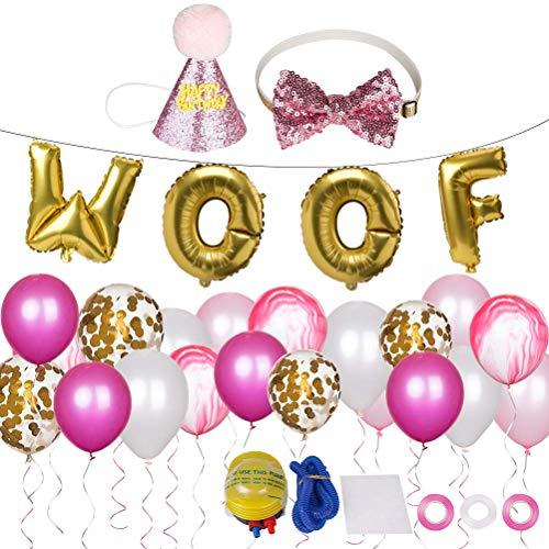 SCIROKKO Suministros de Fiesta de cumpleaños para Perro, 20 Globos, Pajarita de cumpleaños para Perro y Sombrero, Globos de látex con Letras de Woof