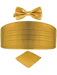 DonDon set di 3 pezzi da uomo, contenente fascia da smoking, papillon e fazzoletto da taschino, tutti dello stesso colore per occasioni festive