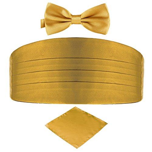 DonDon 3er Set Herren Kummerbund Fliege Einstecktuch farblich abgestimmt glänzend für feierliche Anlässe - Gold
