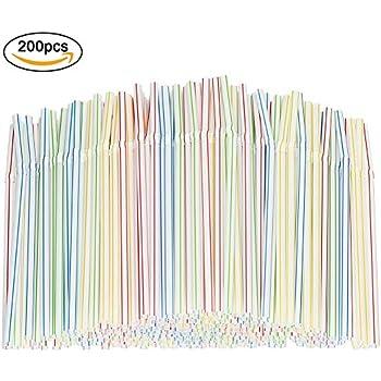 /Rayures multicolores sans BPA jetables Bendy Paille de 20,3/cm de long/ /par Tianxin Plastique Souple pailles Lot de 200/