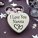 Perfect Way To Say I Love You. Beautiful Mini Silver Heart Tin With Sweets, Special Gift Present to say I Love You. Tin size 45mm x 45mm x20mm. (I Love You Nanna)