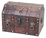 Vintiquewise, forziere dei Pirati con battagli a Forma di Leone, in Legno, Colore Marrone Antico