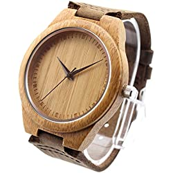 Affute Men's Wooden Bamboo Watch with Genuine Leather Strap Quartz Analog with Quality Japan Miyota 2015 Movement