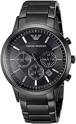 Emporio Armani AR2453 - Reloj cronógrafo de cuarzo para hombre, correa de acero inoxidable color negro