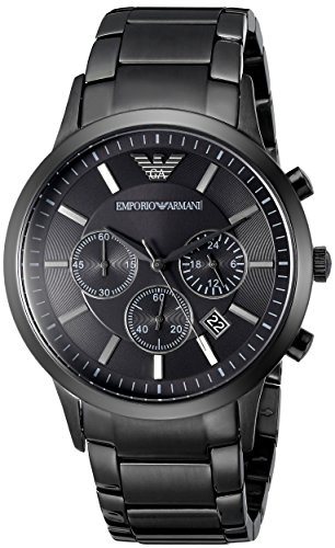 Orologio Uomo Quarzo Emporio Armani display Cronografo cinturino Acciaio inossidabile Nero e quadrante Nero  AR2453