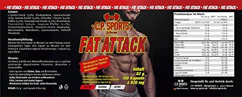C.P. Sports Fat Attack – 100 Kapseln Fettverbrenner, Fat Burner, Fettverbrennung hochdosiert Fett weg