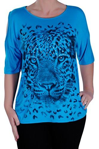 Eyecatch - Cairo Tigre Aux Femmes Drapé Épaule Coupe Tunique Dames Tops Turquoise