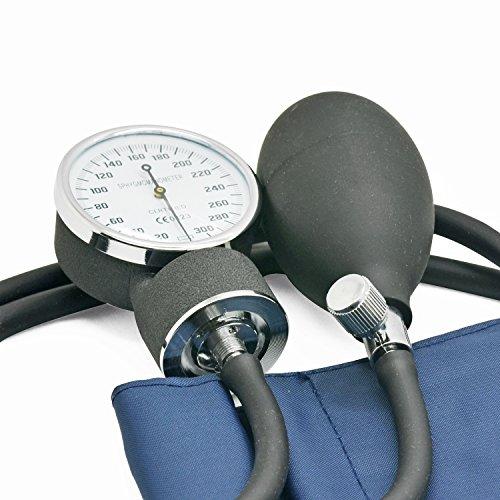 Belmalia Blutdruckmessgerät mit Stethoskop, Pumpball, Manometer, Manschette, Tasche für Rettungsdienst, Arzt, Praxis, Manuell, Blau Schwarz - 3