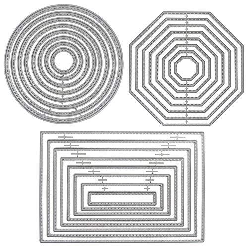 SourceTon Prägeschablonen, 3 verschiedene Formen, Metallschablonen (rechteckig, Kreis und achteckig), 24 Stück Prägewerkzeuge für Scrapbook, Album, Papier, Basteln und Kartenherstellung