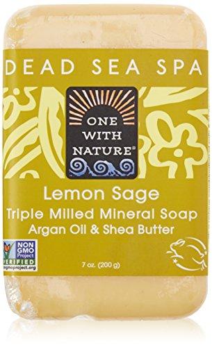 One With Nature Pain de savon à la verveine citronnelle - Avec sels minéraux de la Mer morte et beurre de karité - 200 g