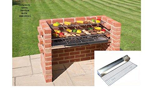 Brick BBQ Kit mit schweren Pflicht Grillpfanne Grilll + Warmhalterost entspricht BS EN 1860: 2013–1Für Design Sicherheit & Qualität BKB 881g