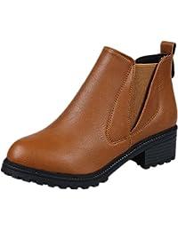 FEITONG Mujer Botines Tacones altos Moda Zapatos hebilla de plataforma Botas de invierno