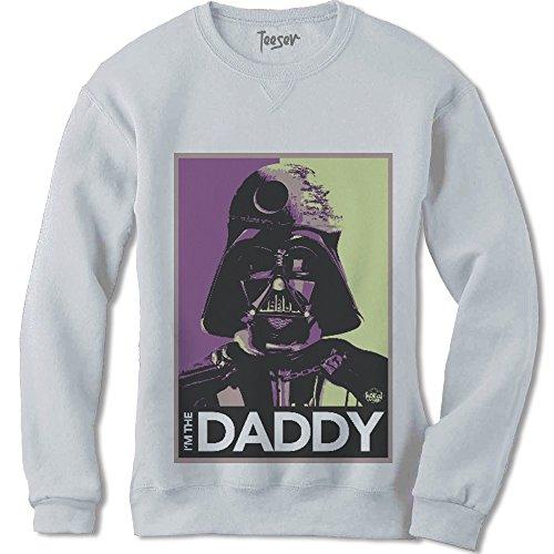 Teeser, Felpa Star Wars Daddy - Maglietta arte con stampa HD alta qualità - Cotone, girocollo, Colore: Bianco, Taglia: Small