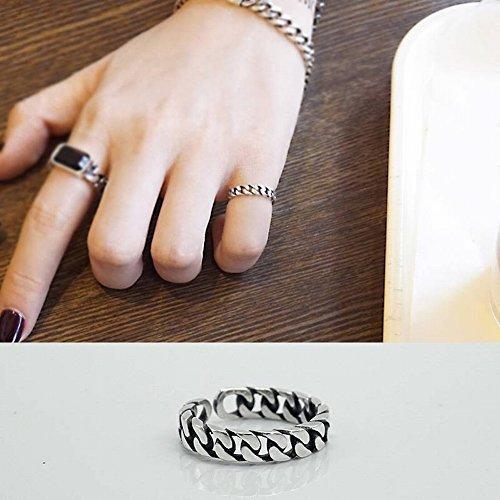 S925 Sterling Silber Ring Weiblichen Retro Handgefertigten Kettenring Können Öffnen Schmuck Schmuck Thai Silber Trendy Geometrische Galvanik Frauen Stil 925 Silber , Thai Silberring , Öffnung einstellbar