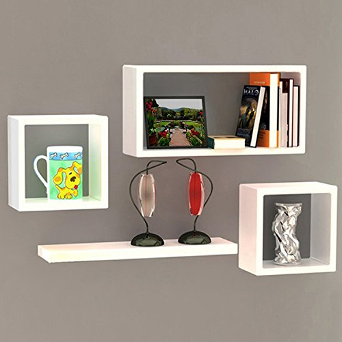 Artesia White Wooden Wall Shelf Set Of Four