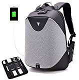 "Arctic Hunter Design- Anti Theft Backpack,Waterproof Travel Backpack with Lock, Slim College School Computer Bag with USB Charging Port Fits 15.6"" Laptop Notebook, Business Laptop Backpack, Grey"