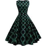Familizo Robe Vintage Femme Sans Manches, Floral Mode Plaid Robe de Soirée (Vert, X-Large)