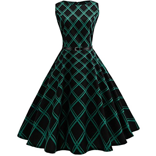 VEMOW Heißer Elegante Damen Mädchen Frauen Vintage Bodycon Sleeveless Beiläufige Abendgesellschaft Tanz Prom Swing Plissee Retro Kleider(X2-Grün, 38 DE/L CN)