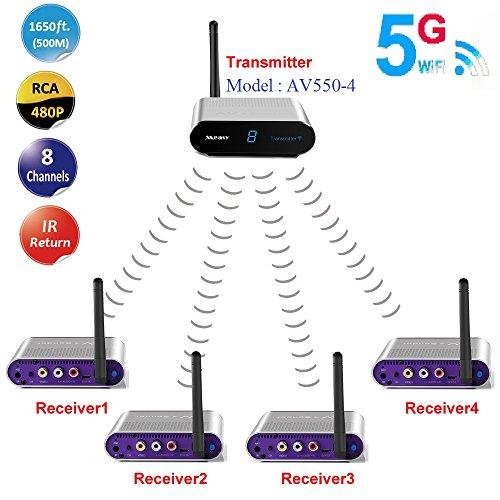 MEASY AV550-4 (1x4) 5.8 GHz-Smart-Digital-STB Wireless-Sharing-IR-Fernbedienung Extender Audio Video Sender Empfänger 550m/1650FT