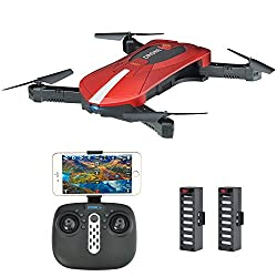 Kingtoys JD-018 Selfie Drohne mit Kamera 2MP HD WiFi FPV Quadrocopter Drohne, Klappbarem Arm RC Quadcopter RTF , Fernbedienung & APP Control Kopfloser Modus Höhenhaltungsmodus, 2 Akkus