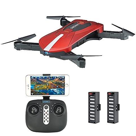 Kingtoys JD-018 Selfie Drohne mit Kamera 2MP HD WiFi FPV Quadrocopter Drohne, Klappbarem Arm RC Quadcopter RTF , Fernbedienung & APP Control Kopfloser Modus Höhenhaltungsmodus, 2 (Quadrocopter Android)