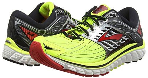 Brooks Men Glycerin 14 Running Shoes, Multicolor (Nighlife/Black/High Risk Red), 9 UK 44 EU