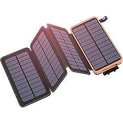 Hiluckey Chargeur Solaire 25000mAh Portable Power Bank avec 4 Panneaux Imperméable Batterie Externe pour iPhone, ipad, Samsung, Smartphones