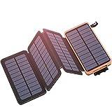 Hiluckey Chargeur Solaire 25000mAh Portable Power Bank avec 4 Panneaux Imperméable...
