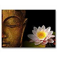 Quadri L&C Italia-Modelo Buda Zen 3-Cuadro moderno, 70x 50cm, impresión sobre tela - Cuadros de meditación o religiosos, con flor de Loto, piedras negras, naturaleza - Ideal para el baño, relajación, decoración del hogar, centro de bienestar, centro de belleza, SPA, hotel