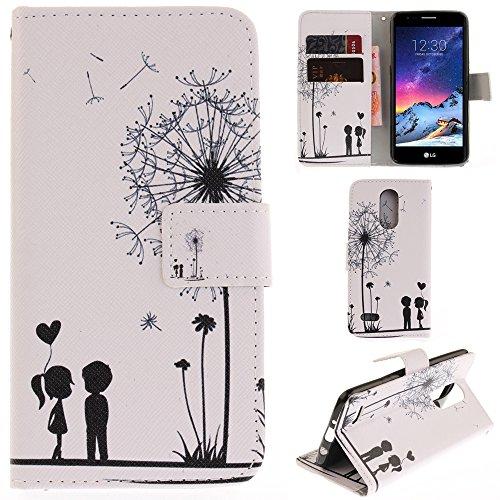 Ooboom® LG K8 2017 Hülle Flip PU Leder Schutzhülle Handy Tasche Case Cover Wallet Standfunktion mit Kartenfächer Magnetverschluss für LG K8 2017 - Löwenzahn Liebe