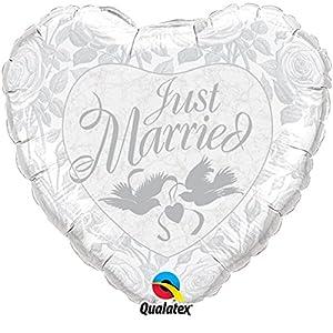 Qualatex 82425 - Globo de papel de aluminio con forma de corazón, color blanco y plateado, 91,44 cm
