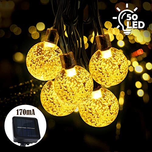 Qomolo Solar Lichterkette 50 LEDs 7 Meter IP65 Wasserdicht Warmweiß Kugel Lichterkette für Garten Terrasse Hof Haus Party [Energieklasse A+++]