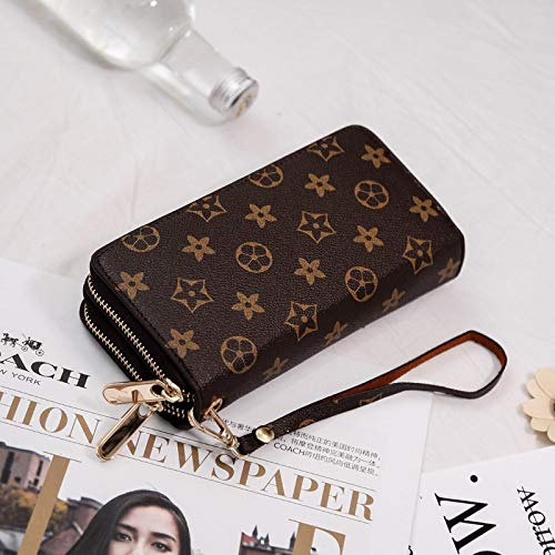 Ldyia Frauen Geldbörse Damen Lange Brieftasche mit großer Kapazität Doppel-Reißverschluss Hand Brieftasche Frauen Doppel-Handytasche Herren Geldbörse, Kaffee Doppel ziehen