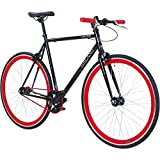 Galano 700C 28 Zoll Fixie Singlespeed Bike Blade 5 Farben zur Auswahl, Rahmengrösse:53 cm, Farbe:schwarz/rot