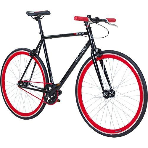 700C 28 Zoll Fixie Singlespeed Bike Galano Blade 5 Farben zur Auswahl, Rahmengrösse:53 cm, Farbe:schwarz/rot