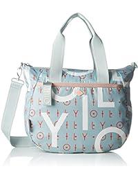 Oilily - Groovy Letters Handbag Mhz, Bolso Mujer, Azul (Light Blue), 15x25x33 cm (B x H T)