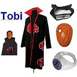 SUNKEE Japanische Anime Naruto Cosplay Für Tobi Set -- Akatsuki Ninja Mantel,Größe(S: Höhe 150cm-158cm) + Tobi Maske +Tobi Ring+Tobi Stirnband