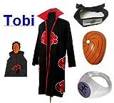 Sunkee Japanische Anime Naruto Cosplay Für Tobi Set -- Akatsuki Ninja Mantel,Größe(M: Höhe 159cm-168cm) + Tobi Maske +Tobi Ring+Tobi Stirnband