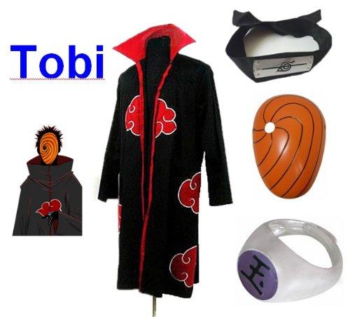 Sunkee Japanische Anime Naruto Cosplay Für Tobi Set -- Akatsuki Ninja Mantel,Größe(XXL: Höhe 185cm-190cm) + Tobi Maske +Tobi Ring+Tobi Stirnband