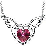 """NEEMODA """"Coeur d'ange"""" Ailes d'anges Collier pour femme Pendentif coeur en cristal Bijoux Cadeaux"""