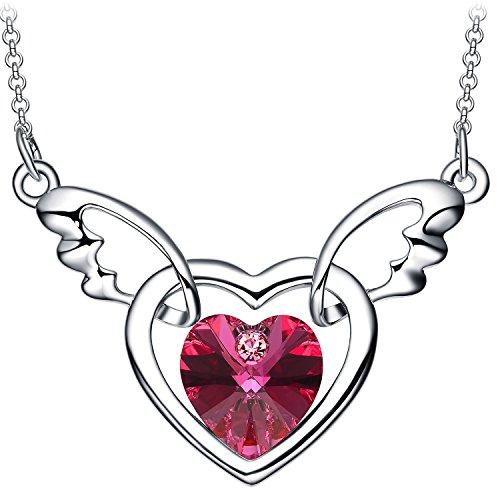 NEEMODA Kette Herz Anhänger Kristall Pink Halskette Engel Flügel Damen Schmuck geschenk für sie frauen Geburtstag jahrestag Valentinstag Weihnachten Muttertag (Stern-rubin Stein)