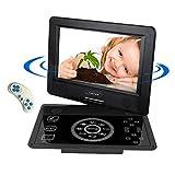Tragbarer DVD CD MP3 MP4 Player, Reise Auto Rücksitz DVD Player, schwenkbaren Bildschirm, unterstützt SD-Karte und USB, 1024*600 Pixels, mit Auto-Ladegerät-Schwarz (Touchscreen 10.1 inch)