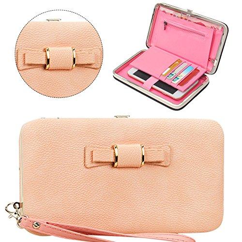 Damen Börse Geldbörse Bow Clutch-Tasche Groß Portemonnaie Brieftasche Geldbeutel