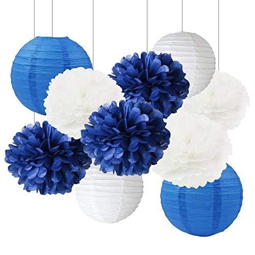ineblau 10inch Tissue Papier Pom Pom Papier Laternen Mixed Package für Marineblau Motto Party Hochzeit Papier Girlande, Bridal Shower Decor Baby Shower Dekoration ()