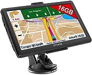 Jimwey Navigationsgerät für Auto Navigation LKW Navi Navigationssystem 7 Zoll 16GB Lebenslang Kostenloses Kart